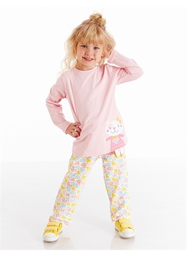 Denokids Kalp Desenli Kedi Kız Pijama Takım Pembe
